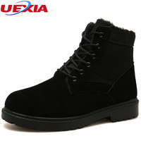 UEXIA Snow Boots Men Military Winter Desert Shoes Leather Plush Black Outdoor Botas Warm Men Shoes