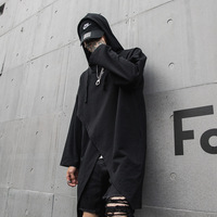 Male Streetwear Punk Hip Hop Long Sleeve Tee Shirt Men Fashion Casual Loose Hooded T shirt Black Tshirt Stage Clothes