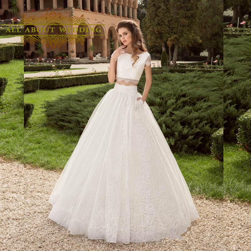 Buy lace crop top two piece wedding for Crop top wedding dress