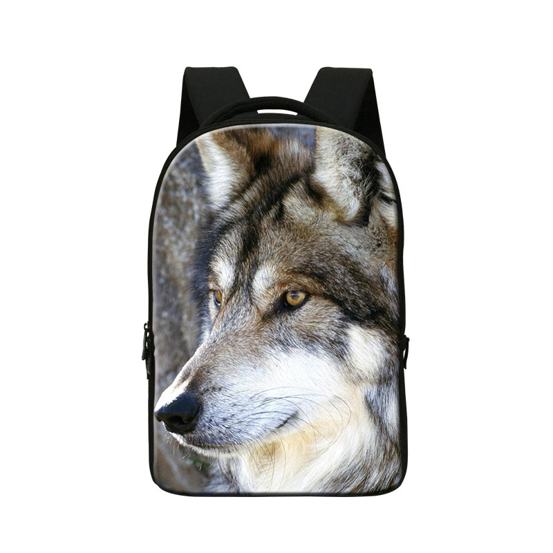 Stylish Wolf 3D Print laptop backpack 14 inch for men,Coolest back pack for college school,cool bookbags for students,new design