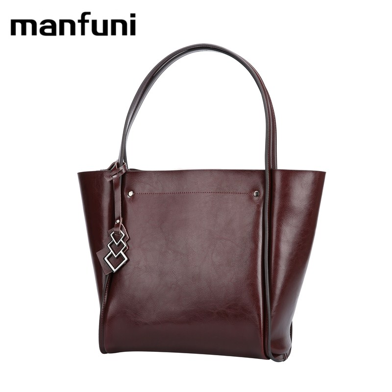 MANFUNI bags for women 2018 Genuine Leather Women Handbag Oil Wax Leather Vintage Casual Tote Large Capacity Shoulder Bag 0828 new 2017 fashion brand genuine leather women handbag europe and america oil wax leather shoulder bag casual women