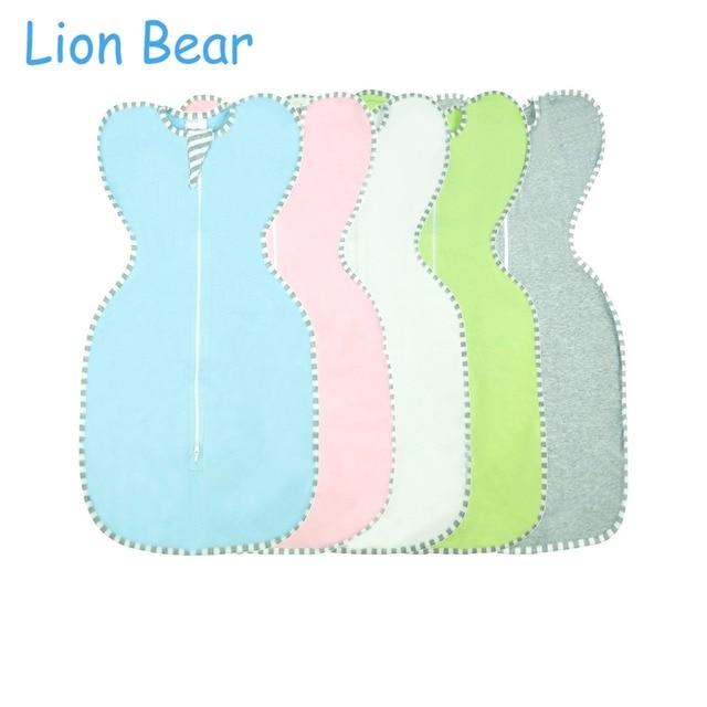 LionBear Kén Bé Túi Ngủ phong bì cho trẻ sơ sinh 0-6 Tháng Cotton màu Rắn Dây Kéo Sleepsacks Bé Bộ Đồ Giường Phụ Kiện