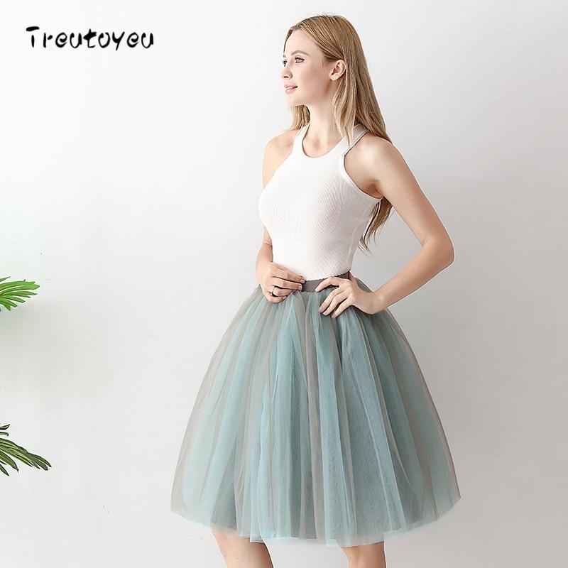 6 vrstev Módní Tutu Tulle Sukně koleno Dlouhé sukně Dámské sukně Lolita Petticoat Saia Faldas Jupe