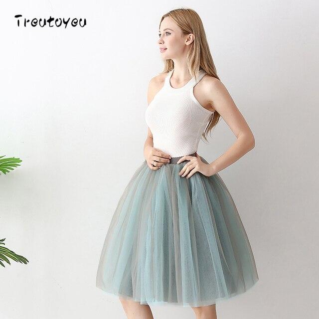 b42adeaa55ca65 6 couches mode Tutu Tulle Jupe longueur genoux jupes plissées femmes Jupe  de mariage Lolita jupon Saia Faldas Jupe