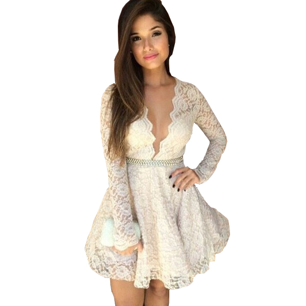 95cf39ca5c30a US $17.98 |Alibaba Express 2015 Sexy Long Sleeve Dress Empire Low Cleavage  White Lace Dresses Under 30 Vestido De Renda-in Dresses from Women's ...