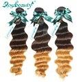 3 Bundles Loose Wave Brazilian Virgin Human Hair Weaves Wavy Grade 6A Ombre Hair Extensions Shipping Free