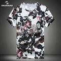 SHAN BAO Brand Rose Pattern Color T-Shirt 2017 Summer High Quality Silk Silk Men's Round Collar Short Sleeve T-Shirt Large Size