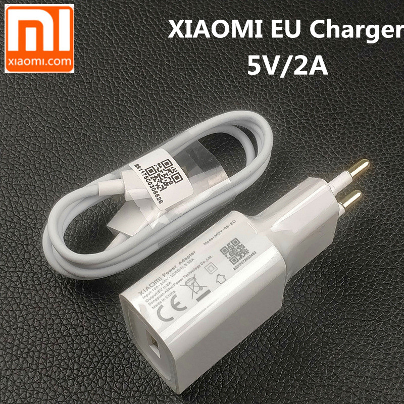 Original XIAOMI <font><b>Wall</b></font> <font><b>Charger</b></font> 5V2A EU Plug Adapter 80cm Micro <font><b>USB</b></font> Data Sync Cable For Redmi Note 2 3 4 5 plus pro 4X 5a 4a S2 3S image