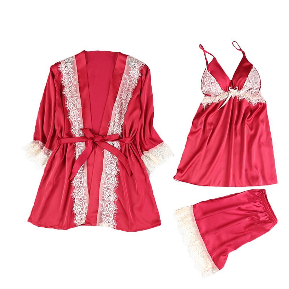 Lace Women Sleepwear Silky 3 Pieces Strap Vest Shorts Robe Ladies Underwear Sexy   Pajama     Sets   Nightwear New Women Sleepwear   Set