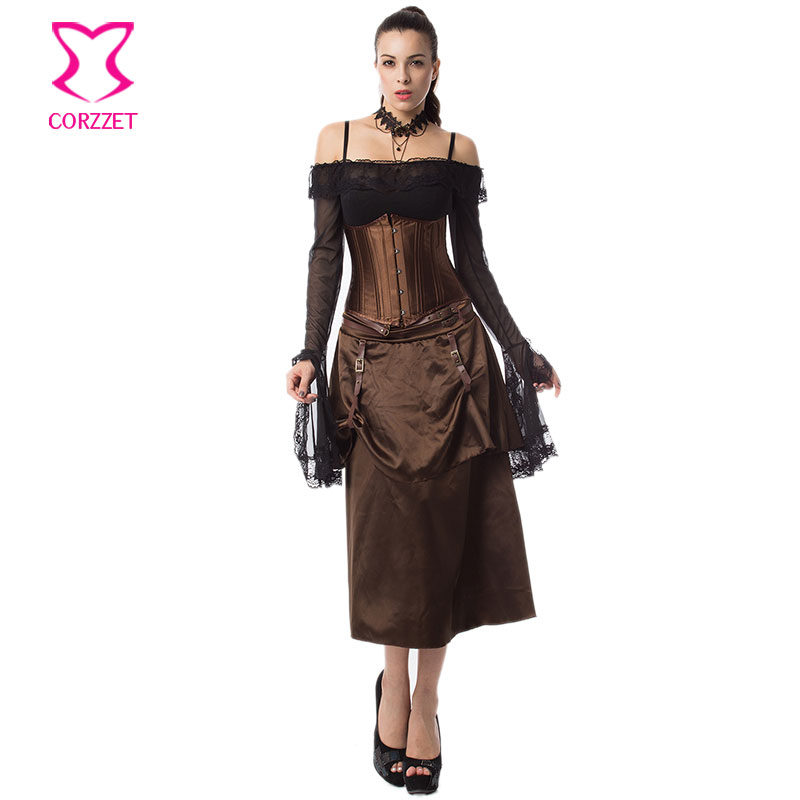 Brown Satin Steampunk Underbust Corset Sexy Skirt Outfits Burlesque Dress Corsets and Bustiers Steel Boned Gothic Clothing