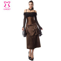 Brown Satin Steampunk Underbust Corset Sexy Skirt Outfits Burlesque Dress Corsets And Bustiers Steel Boned Gothic