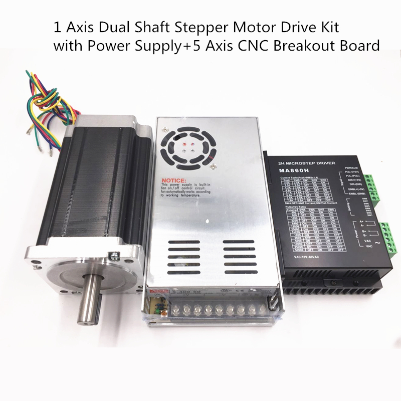 1 Axis Nema34 12Nm Stepper Motor Drive Kit Dual Shaft 1714oz-in with Power Supply and 5 Axis CNC Breakout Board With Free Cable