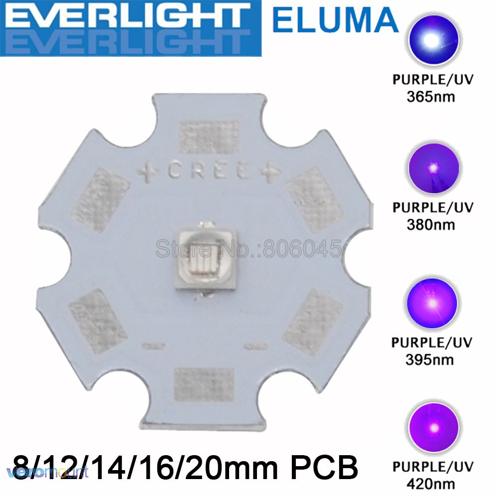 5pc/lot Everlight Chip 3W 3535 UV Ultraviolet Purple High Power LED Light Emitter 365nm 380nm 395nm 420nm on 8/12/14/16/20mm PCB все цены