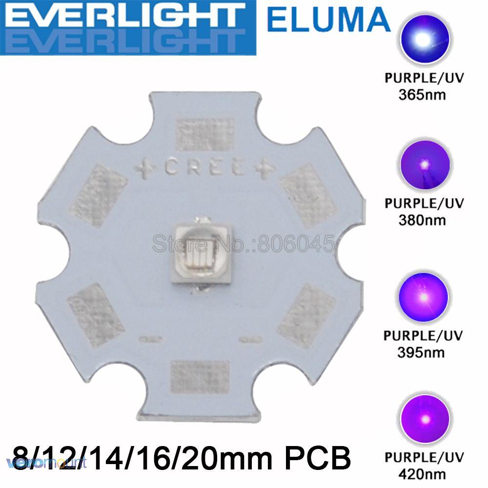 5pc/lot Everlight Chip 3W 3535 <font><b>UV</b></font> Ultraviolet Purple High Power <font><b>LED</b></font> Light Emitter 365nm <font><b>380nm</b></font> 395nm 420nm on 8/12/14/16/20mm PCB