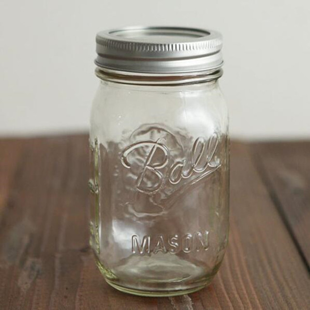 16OZ Ball Mason Jar Bottle Glass Jam Jar Vegetable Fruit Salad Cans