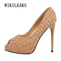 12 Cm Peep Toe High Heels Shoes Woman 2018 Ladies Wedding Shoes Bridal Tacones Stiletto Fetish