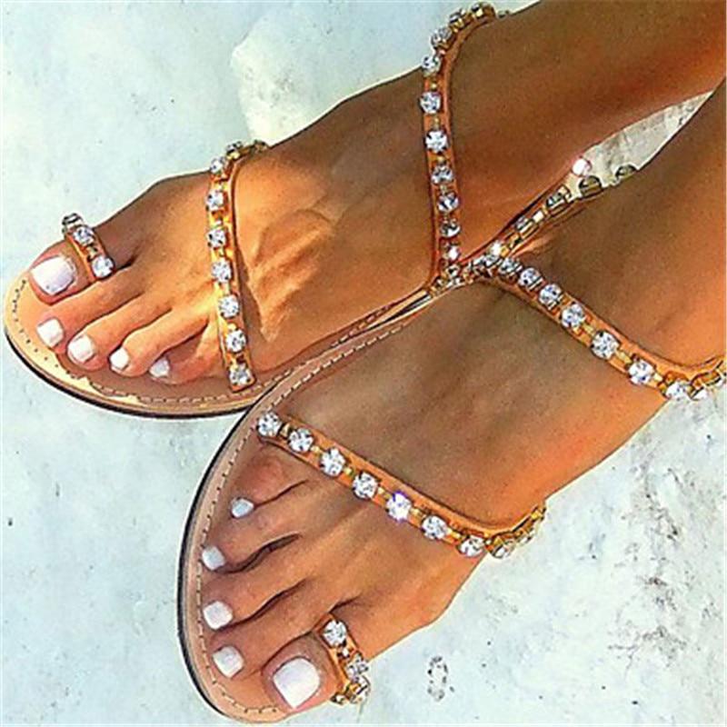 Hot~2017 Summer Flat Women sandals Rhinestone Thong gladiator Clip Toe sandalias Plus size