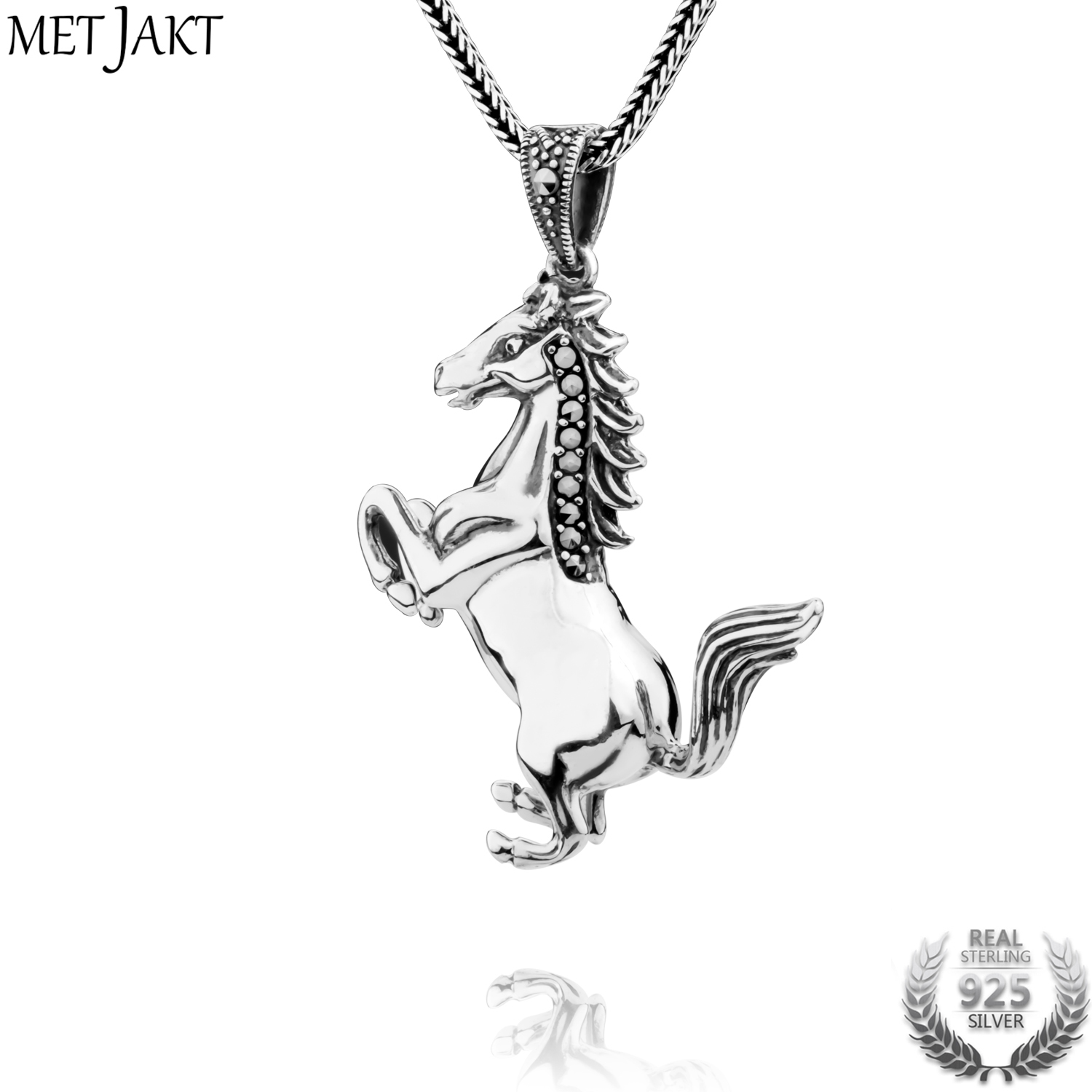 MetJakt Vintage 925 Sterling Silver Horse Pendant Necklace 925 Silver Snake Chain for Unisex Punk Jewelry men 925 sterling silver necklace with 4 mm classic round snake chain necklace the punk style silver ornament gift for boyfriend