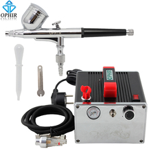 OPHIR Pro Airbrush Compressor Set Gravity Dual Action Airbrush Kit with Air Compressor for Temporary Tattoo Makeup _AC091+AC004