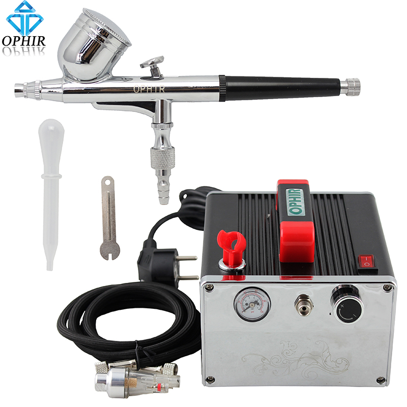 OPHIR Pro Airbrush Compressor Set Gravity Dual Action Airbrush Kit with Air Compressor for Temporary Tattoo Makeup _AC091+AC004 ophir temporary tattoo tool dual action airbrush kit with air tank compressor for model hobby cake paint nail art ac090 ac004