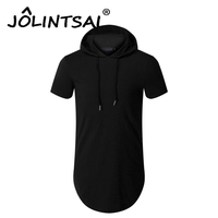 Mens Hooded T Shirt Hipster Hip Hop Streetwear T Shirt Men Longline Zipper Harajuku Mens T