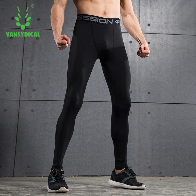 Men Wearing Compression Running Tights