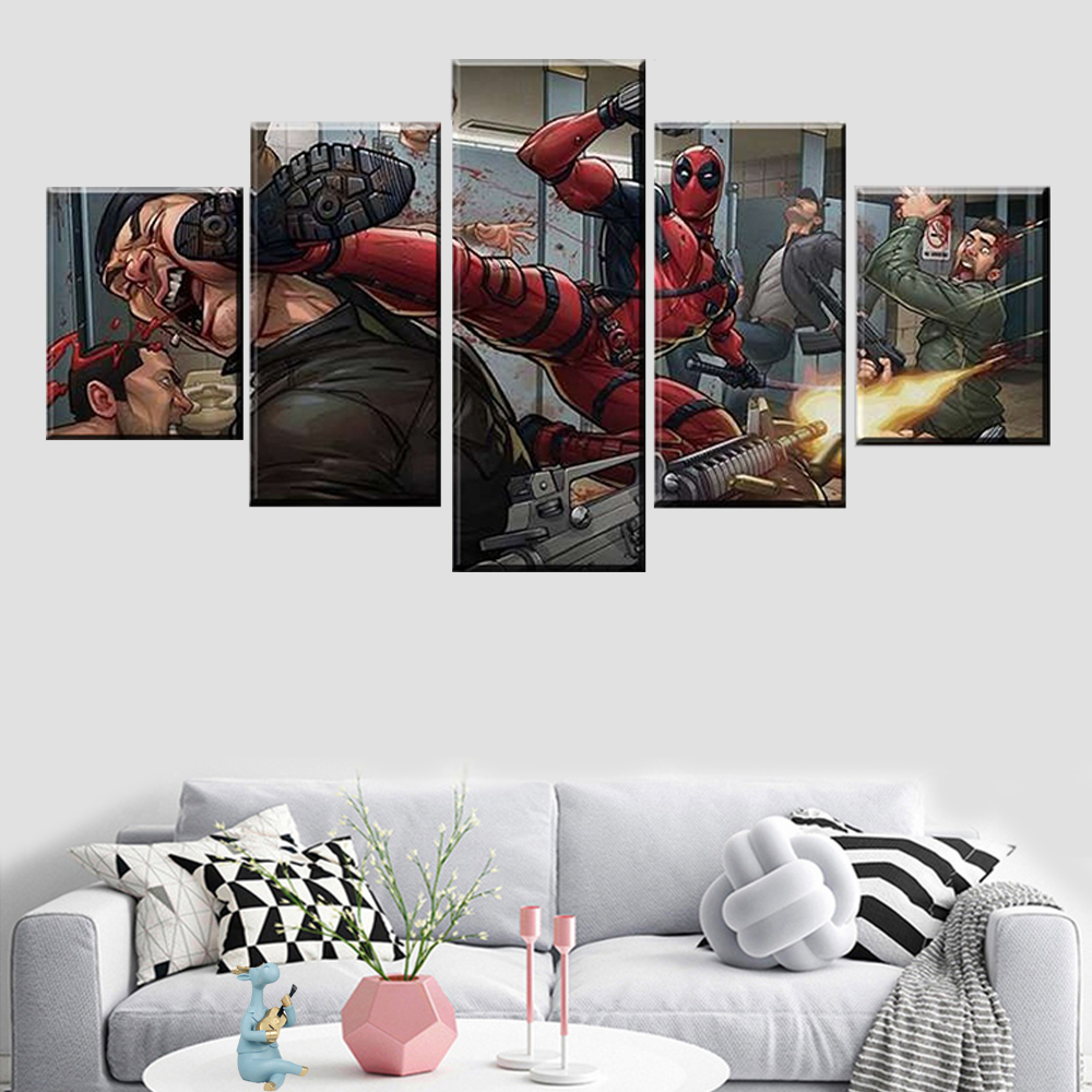 5 pieces anime spiderman picture poster wall art living room modular frame canvas printing home decoration image