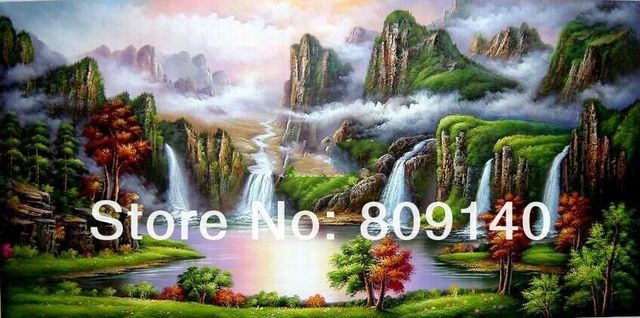 Stretched Fortune Basin oil painting Feng Shui Landscape Career