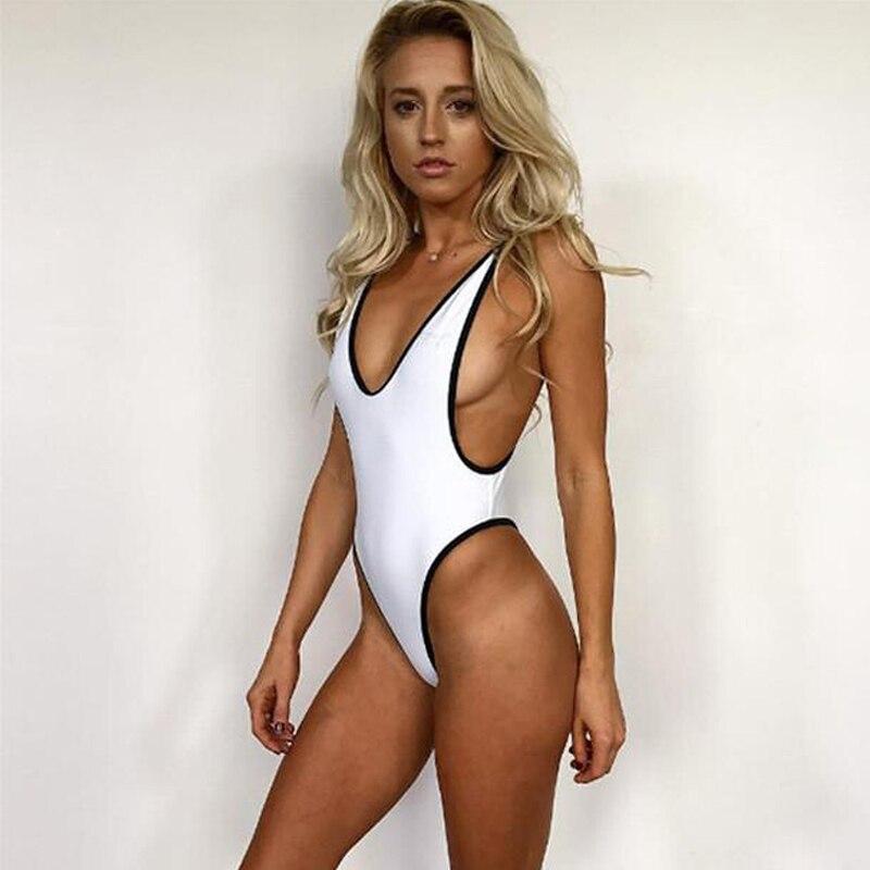 Romacci New Women Strappy Backless Bodysuit Women Sleeveless Summer Beach Hot Bodysuits 2019 Deep V Neck Slim Cami Bodysuit