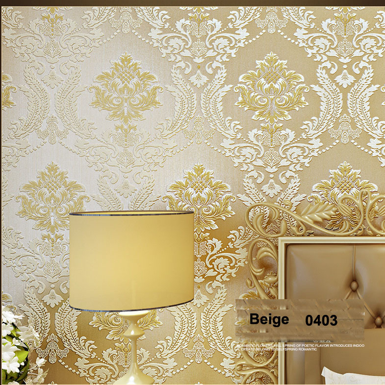New 3d Papel de parede European Damask 3D Flocking wallpaper roll for bedroom background Vinyl 3d wall paper wallcoverings wallpaper modern anchos travelling boat modern textured wallcoverings vintage kids room wall paper papel de parede 53x1000cm