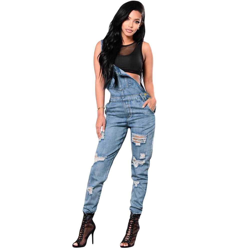 cef3ceb0270 Detail Feedback Questions about Plus Size Ripped Denim Jumpsuit Women  Winter Denim Overalls Pockets Button Casual Dungarees Long Jeans Playsuit  Rompers ...