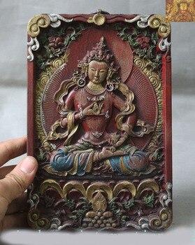 Decoración de la boda de tibet, Budismo de madera pintado tallado de Vajrasattva Tara Kwan-Yin Tangka Thangka