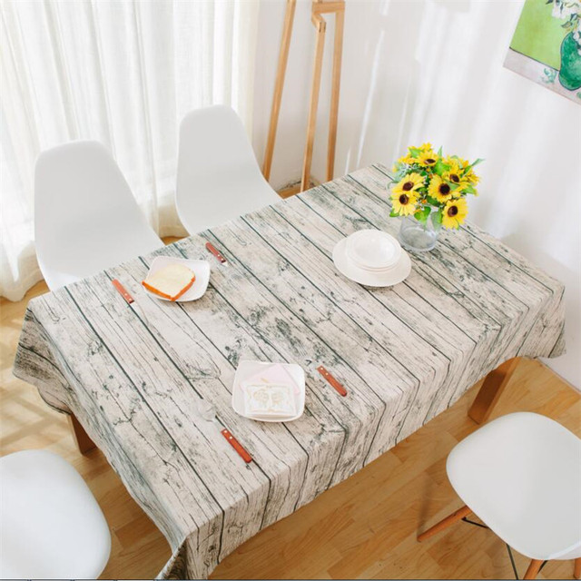 Charmant Home Decor Retro Simulation Wood Striped Table Cloth Cotton Linen Fabric  Grey Tablecloth Tables Cover For
