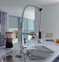 Modern Chrome Kitchen Sink Faucet Swivel Spout Pull Out Vessel Sink Mixer Tap Wsf061