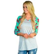 t shirt women Cotton Print  Stitching long sleeves O-Neck Fashion women's t-shirts tops plus size 3XL active random print stitching long sleeves t shirts