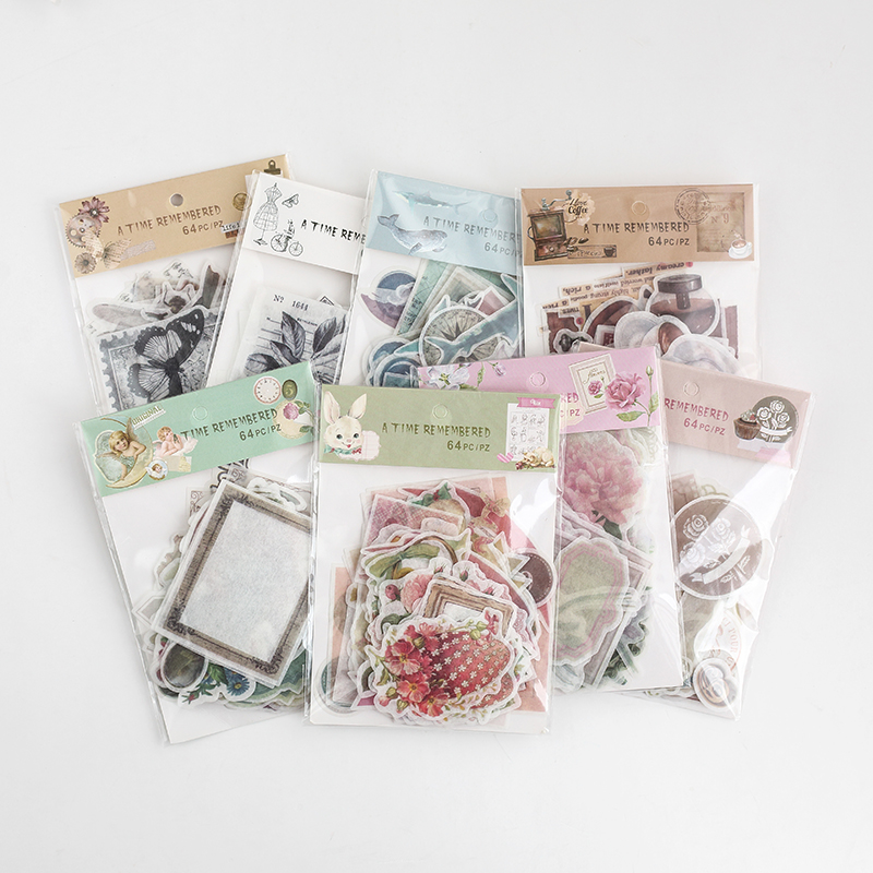 64 Pcs/pack Rose Vintage Decorative Stationery Sticker Tape Kids Craft Scrapbooking Sticker Label For Diary, Album64 Pcs/pack Rose Vintage Decorative Stationery Sticker Tape Kids Craft Scrapbooking Sticker Label For Diary, Album