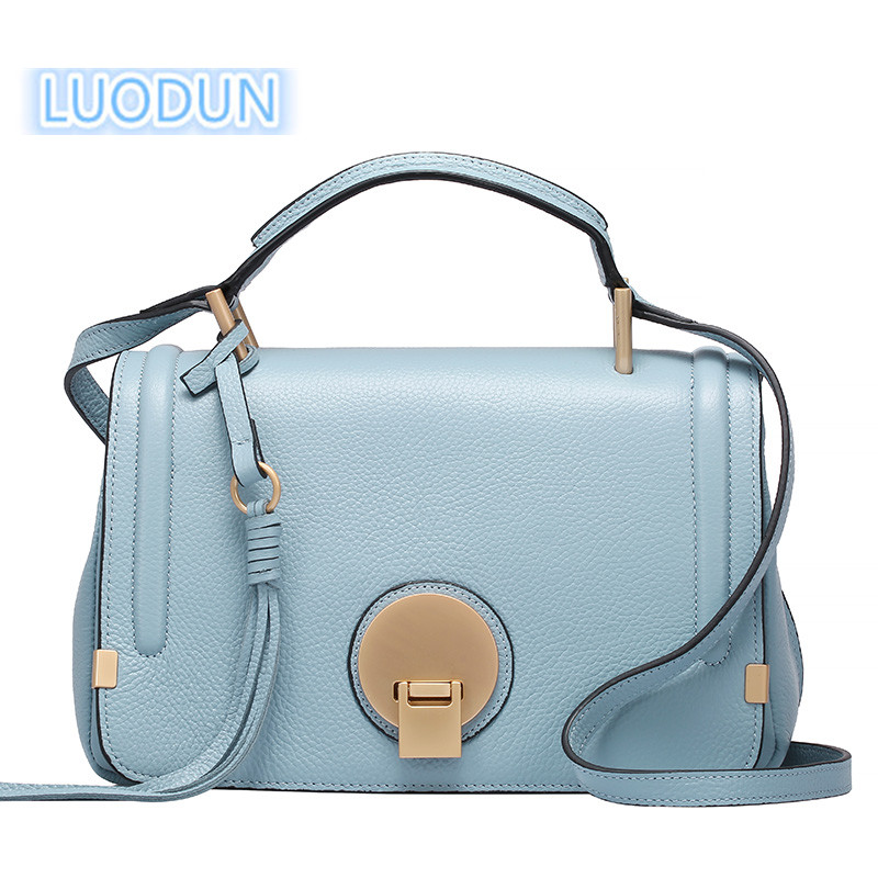 LUODUN New spring and summer Genuine leather handbags first layer of cowhide bag camera bag shoulder portable Messenger bag bag female new genuine leather handbags first layer of leather shoulder bag korean zipper small square bag mobile messenger bags