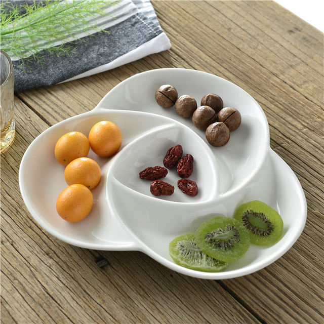 Spiral Ceramic Divided Plate Decorative Porcelain Orted Serving Dish Tableware Dishware Receptacle For Candy Fruit And Snack