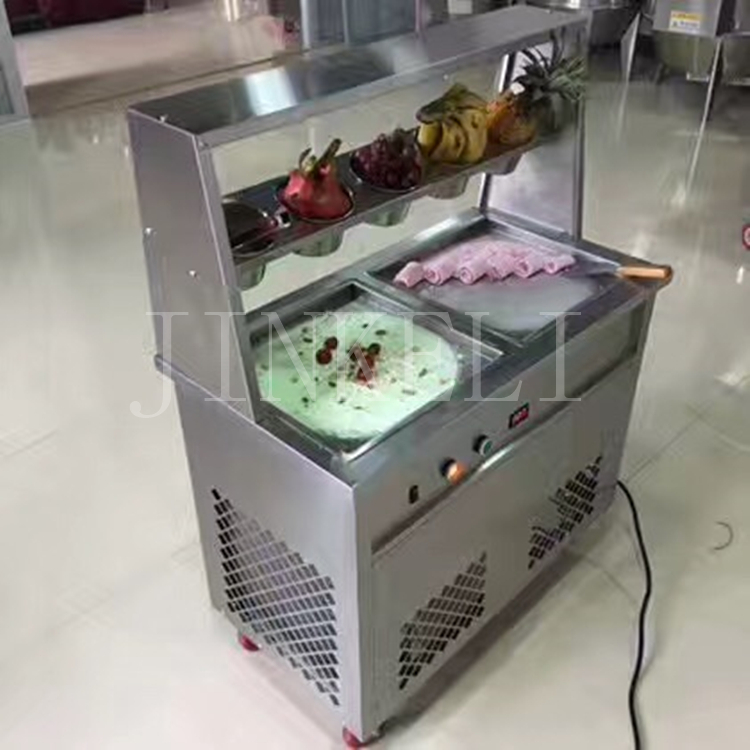 18 ree ship to home 25-35L/H commercial fried ice cream roll machine, R22 R410 thai Ice Cream Machine with ad light box design ce fried ice cream machine stainless steel fried ice machine single round pan ice pan machine thai ice cream roll machine