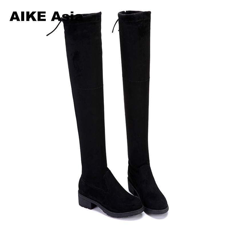 Over The Knee Boots Women Stretch Fabric Womens Thigh High Boots 2019 Sexy Lace Up Woman Flat Shoes Long Bota FemininaOver The Knee Boots Women Stretch Fabric Womens Thigh High Boots 2019 Sexy Lace Up Woman Flat Shoes Long Bota Feminina