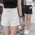 Джинсовые шорты женщин летом 2016 Высокой талии шорты свободные тонкие белые заусенцы белый черные широкие ноги шорты ковбой женский A1094