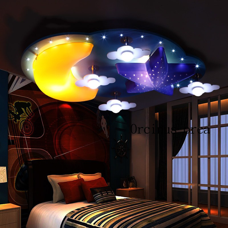 Children room lamp girl bedroom ceiling lamp creative cartoon Princess Room star moon personality boy lamp free shipping