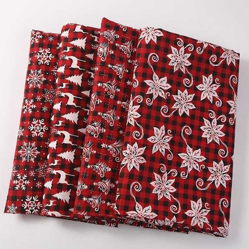 クリスマス赤チェック柄 4 個のプリントコットンリネン縫い合わせ生地縫製 DIY テキスタイル生地ソファセット壁紙