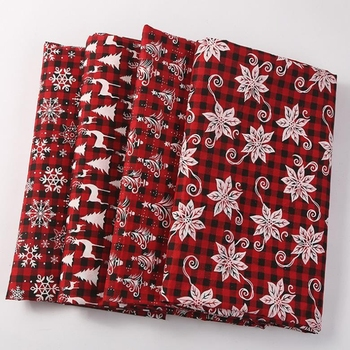 Christmas red plaid 4 Pieces Of Printed Cotton linen Piecing Fabric Sewing DIY Textile Sofa Set Wallpaper