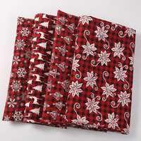 Plaid rouge de noël 4 pièces de coton imprimé lin morceau coton lin tissu couture bricolage Textile tissu canapé ensemble papier peint