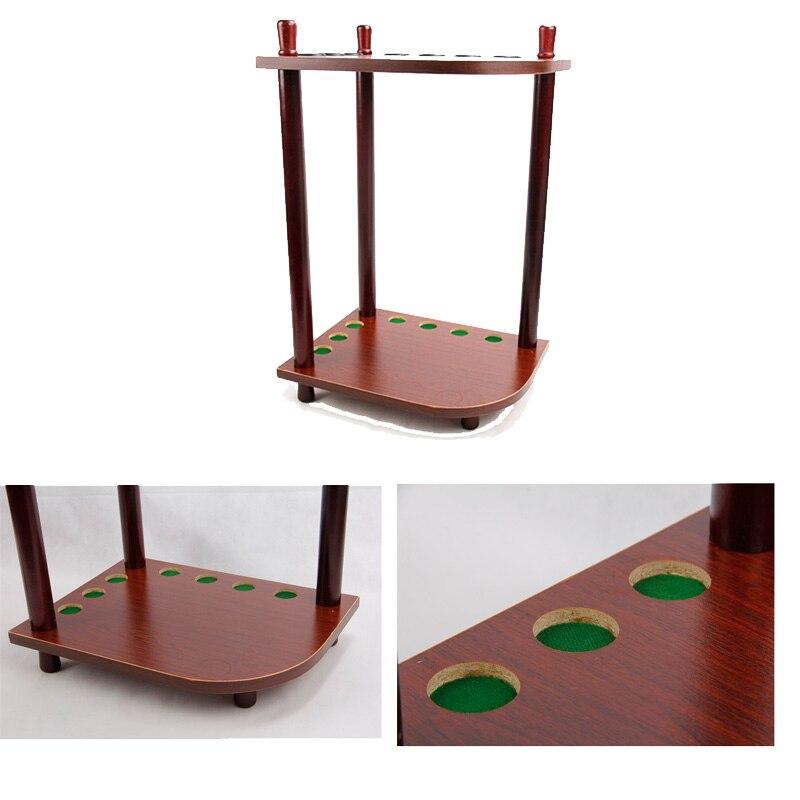 wooden corner cue rack pool snooker table balls drink rest stick holder