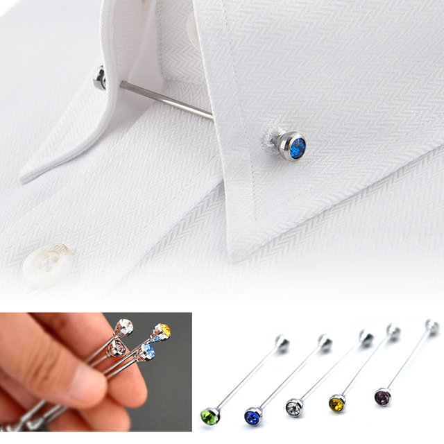 2019 Limited Broche Mens Shirt French Collar Pin Brooch Bar Clasp Clip Barbell L