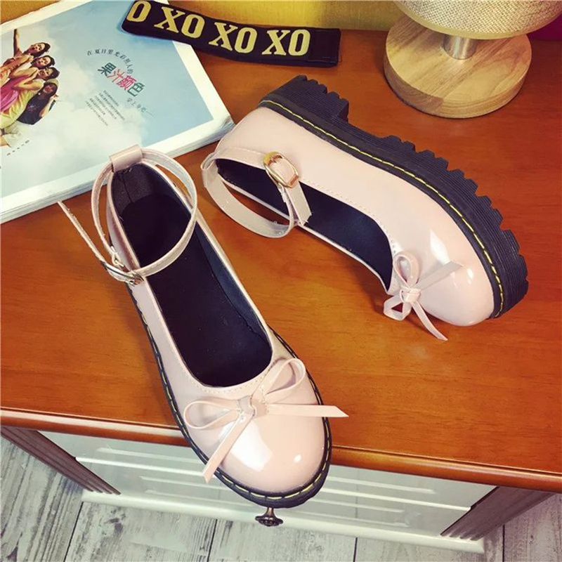 Japanese Student Lolita Shoes College Girl JK Commuter Uniform Shoes PU Leather Bowknot Mary Jane Shoes Platform Shoes