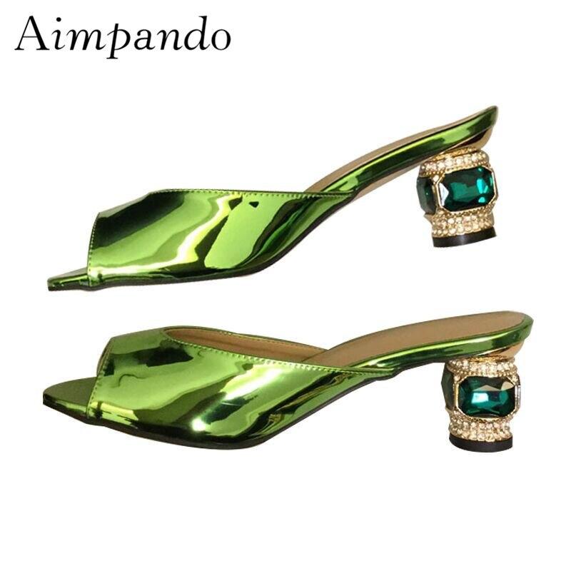 red De Verni En Diamant Glisser Luxe Argent Cuir Talon Vert silver Green Chaussures Nouveau Bijoux Pantoufles 2019 Femmes D'été Rouge Femme 1Z4cwH7