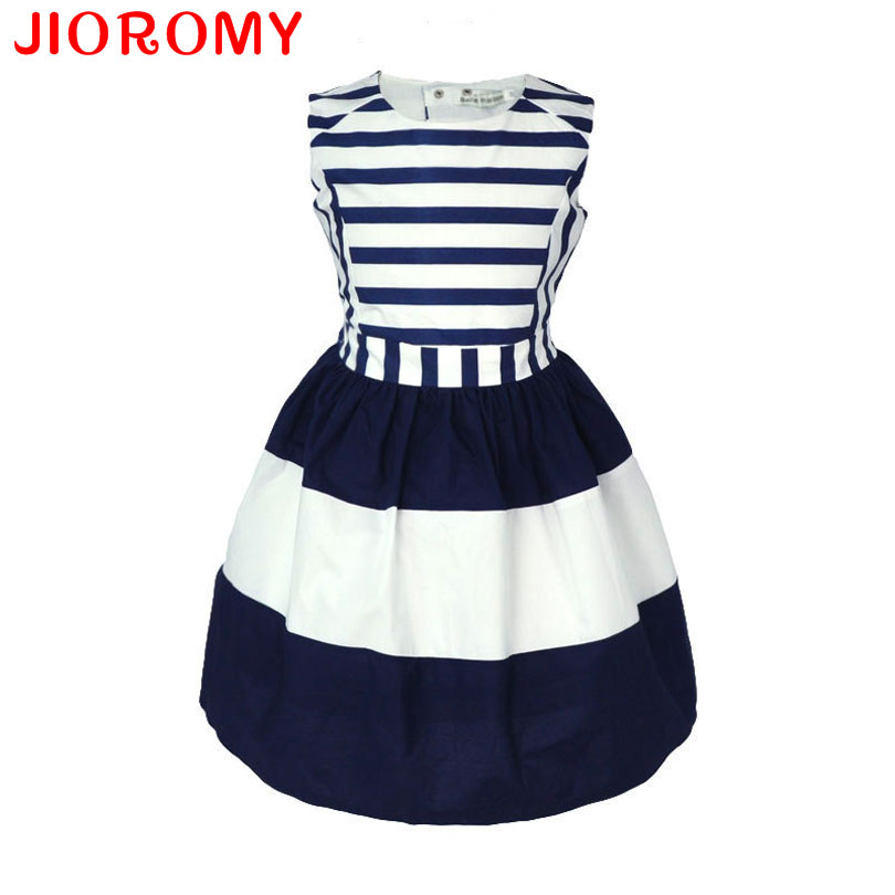 Girls Striped Dresses 2016 Summer New Children's Clothing Sexy Exposed Back Fashion Navy Princess European Style